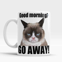 Grumpy Cat Mug Good Morning - Go away! Funny rude mug Hilarious Funny Gr... - $12.90
