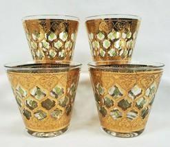 VTG Valencia CULVER Old Fashioned Glasses MCM 22K Gold Green Diamonds Flared 4 - $74.95