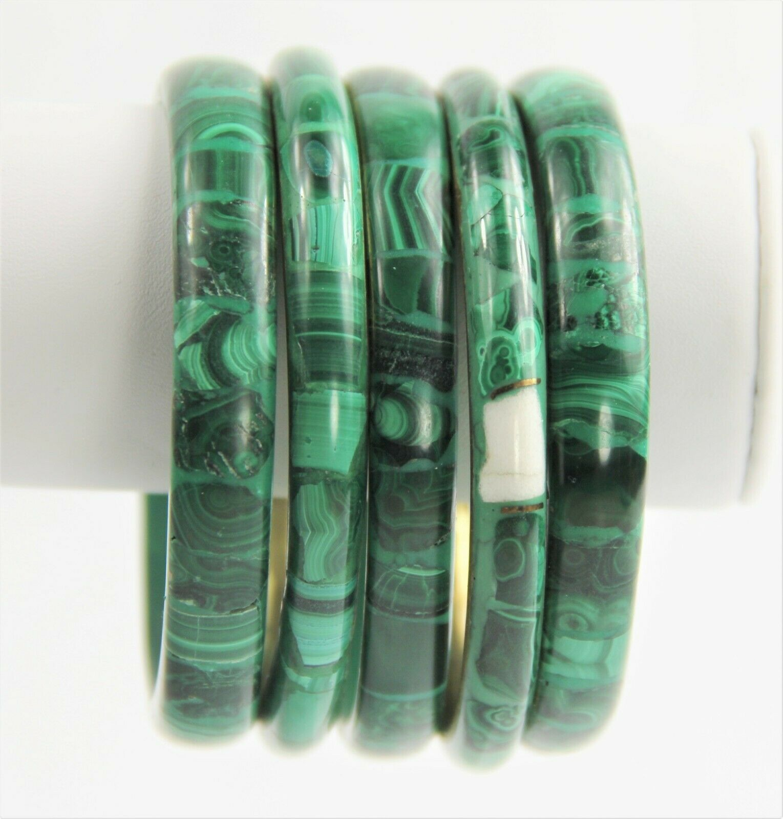 ESTATE VINTAGE Jewelry MALACHITE GEMSTONE BANGLE BRACELET CHOICE