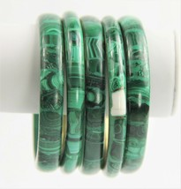 ESTATE VINTAGE Jewelry MALACHITE GEMSTONE BANGLE BRACELET CHOICE  - $15.00