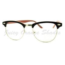 Round Horn Rim Clear Lens Glasses 2-tone Keyhole Eyeglasses Frame - $7.15