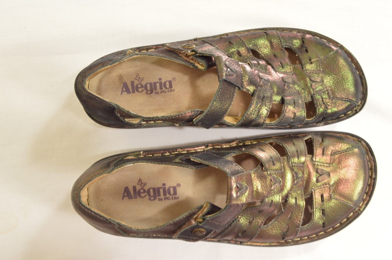 Alegria shoes SZ 40 US 9.5 bronze leather Mary Jane shiny PES-201