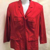 Newport News Jeanology 16W Jacket Red Linen Blend Pockets Plus Size - $21.55
