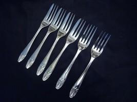 "Silverplate Art Deco Reg. No. 782896 Pattern Pastry Cake Forks 5 3/8"" Se... - $21.83"