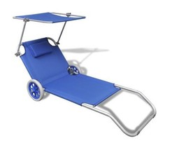 Sun Lounger With Adjustable Canopy Outdoor Sunbed On Wheels Garden Seate... - $80.84