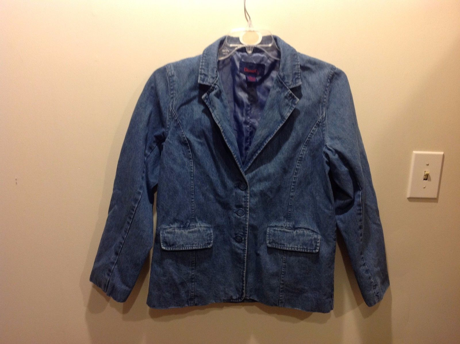 Denim And Co Blue Denim Blazer Sz Medium