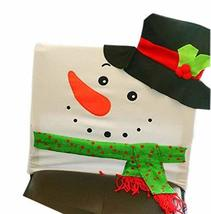 PANDA SUPERSTORE Christmas Chair Cover Snowman Style Christmas Chair Sets Decor,