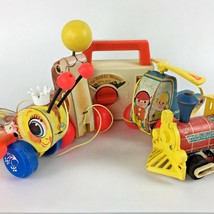 Vintage Fisher Price Wooden Pull Toy Bee Seal Train Coper Bear Picnic Lo... - $60.85