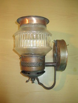 Mid-century Copper Porch Light +Original Press Glass Shade c1950s - $45.00
