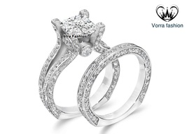 Princess Cut White CZ Bridal Engagement Ring Set In White Gold Plated 925 Silver - $89.99