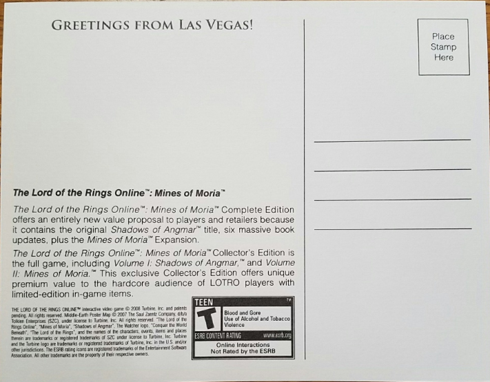 6 x 4-3/4 Postcard from the game Mines of Moria Lord of the Rings, New