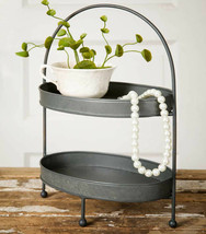 Two Tier Oval Metal Tray Display Stand Vanity Kitchen Fruit Veggie Jewel... - $24.95