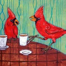 cardinals at coffee shop ceramic animal bird art tile impressionism animals - $14.99