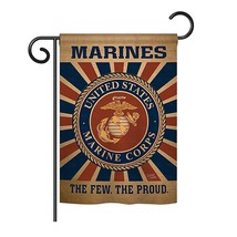 Breeze Decor - Marine Corps Burlap Americana - Everyday Military Impressions Dec - $28.37