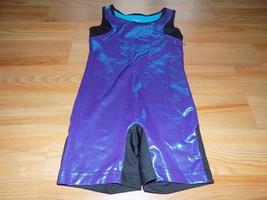 Size Small 6-6X Danskin Black Purple Turquoise Foil Dance Biketard Leota... - $18.00