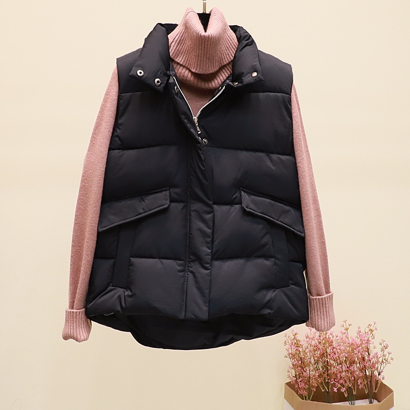 New black warm padded winter vest with pockets stand collar sleeveless waistcoat