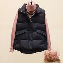 New black warm padded winter vest with pockets stand collar sleeveless w... - $44.00