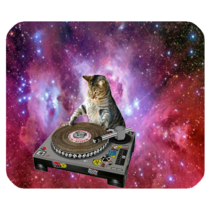Mouse Pads Cat In Space Cute Funny Nature DJ Music Animal Design Game Mousepads - $6.00