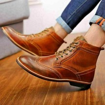 Handmade Men's Brown Wing Tip High Ankle Lace Up Leather Boot image 4