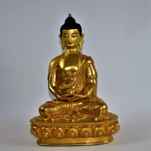 Amitabha buddha hand made statue made in pure copper 24k gold platted - $600.00