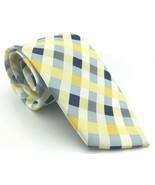 Perry Ellis Men's Kluivert Check Neck-Tie Multi-Color 100% Silk Blue Yellow - $15.86
