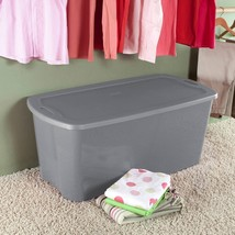 4 Pack Plastic Tote Storage Container Large Organizer Box Lids Bin Set 5... - $75.53