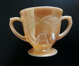 Vintage Fire King Carnival Glass Laurel Leaf Pattern Double Handle Sugar Dish - $18.69