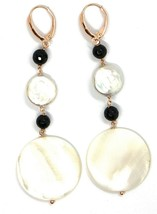 18K ROSE GOLD PENDANT EARRINGS, MOTHER OF PEARL DISC, ONYX, 3.1 INCHES LENGTH image 2