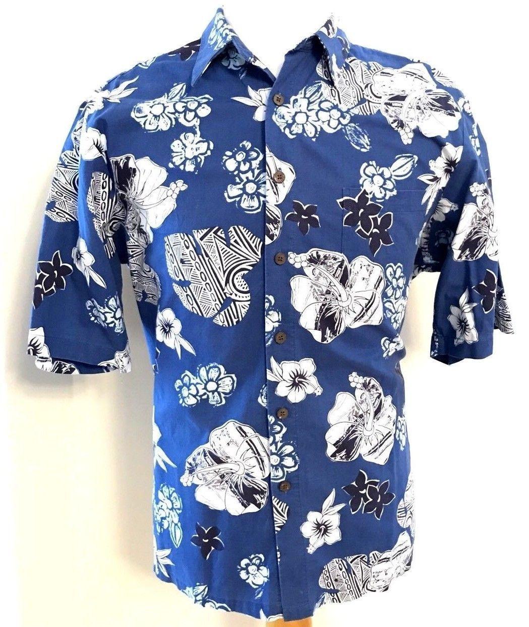 f37f75339 S l1600. S l1600. Previous. Reyn Spooner Shirt Large L Blue Floral Print  Short Sleeve Shirt Hawaiian