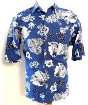 Reyn Spooner Shirt Large L Blue Floral Print Short Sleeve Shirt Hawaiian - $29.65