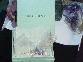 Judith Ripka Sterling 18k gld Diamonique Earrings Asscher Filigree New B... - $188.09