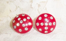Vintage Screw Red Plastic Rhinestone Earrings - $12.99