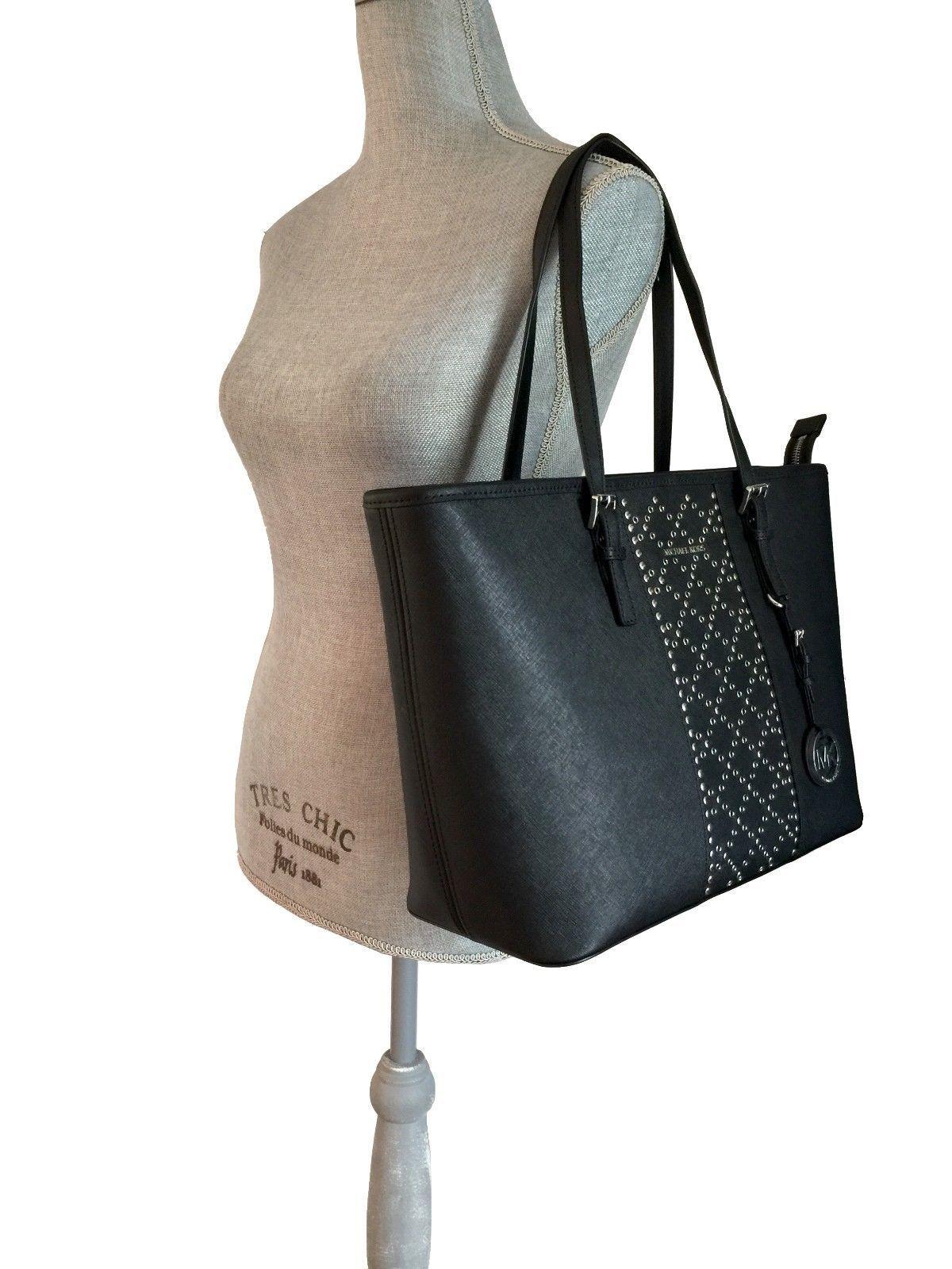 994ebba7d934 NWT MICHAEL KORS Jet Set Travel Top Zip Tote Black Grommet Leather Bag Purse