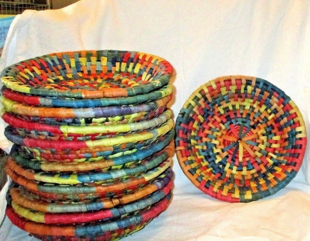 Bright Colorful Rattan Straw Woven Paper Plate Holders Very Sturdy Set 12 & Bright Colorful Rattan Straw Woven Paper and 50 similar items