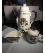 Metlox Poppytrail Provincial Rose Tea Pot, Sugar Bowl w lid, Creamer.  R... - $54.45