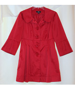 L.N.RED SATIN 3/4 BELL SLEEVE LONG JACKET BLAZER POCKETS BIG BUTTONS M S 6 - $29.99