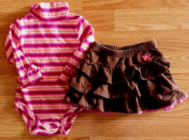 Girl's Size 9-12 M Months 2 Pc Pink Striped L/S Koala Kids Top, Osh Kosh... - $9.60