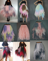 Love Me More Tulle Layered Skirt Pink High Low Long Layered Tulle Skirt Adults image 5