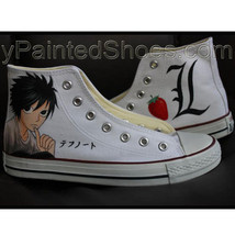 Anime Shoes Death Note Anime Shoes Hand Painted Shoes Chuck Taylor Shoes - $85.44