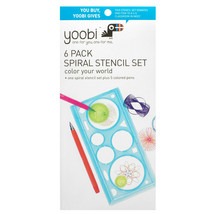 Yoobi Stencil Spiral Kit, with 5 Ballpoint Pens - Multicolor - $4.94