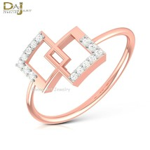 Solid 10k Rose Gold Engagement Ring Square Design Geometric Ring Minimal... - $269.99