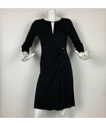 Emilio Pucci Dress Silk Black Keyhole 3/4 Sleeves Sz 8 Italy - $449.99