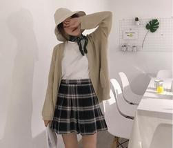 Women Girl YELLOW Pleated Plaid Skirt Plus Size School Style Pleated Plaid Skirt image 6