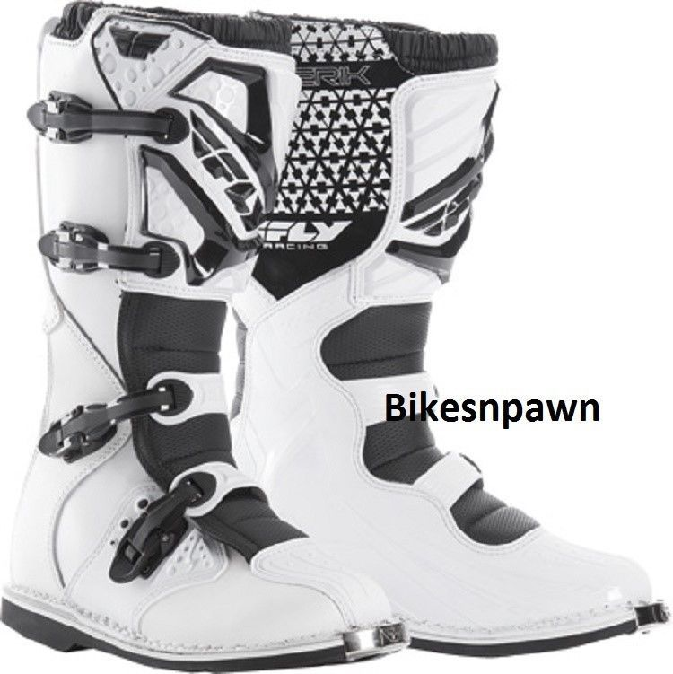 New Adult Size 9 Fly Racing Maverik White Motocross MX ATV Boots