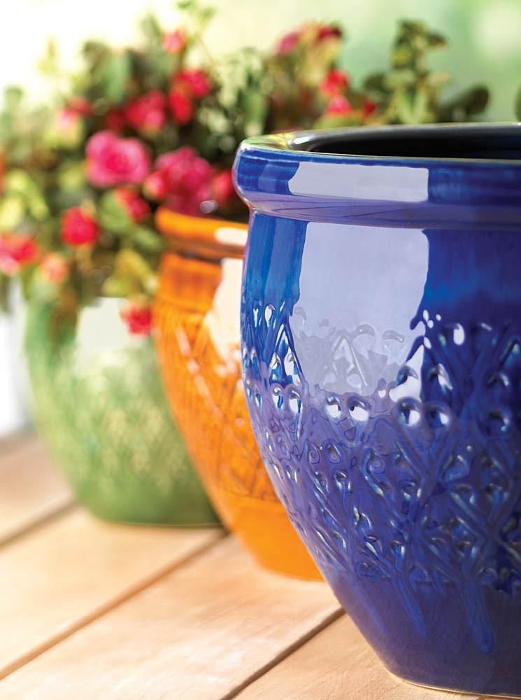 Pots Planters, Large Glazed Outdoor Planters, Ceramic Jewel-tone Flower Pot Trio