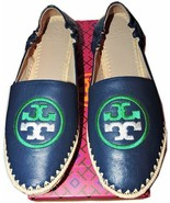 Tory Burch Darien Loafer Navy  Flats Espadrilles Moccasins Embroidered L... - $139.00
