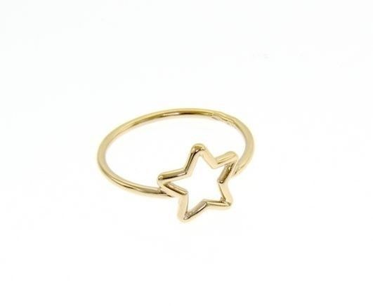 18K YELLOW GOLD STAR CENTRAL RING, SMOOTH, BRIGHT, LUMINOUS, BAND, MADE IN ITALY