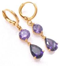 Women New Hoop Dangle Earrings 18K Gold Plated Purple Black Simulated Di... - $16.39+
