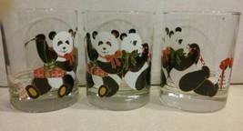 CULVER Lowball Glasses Lot of 3 Christmas Panda Bear  - $15.50
