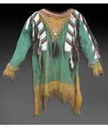 Men Native American Buckskin Tan Buffalo Leather Beads POWWOW War Shirt WS152 - $269.10